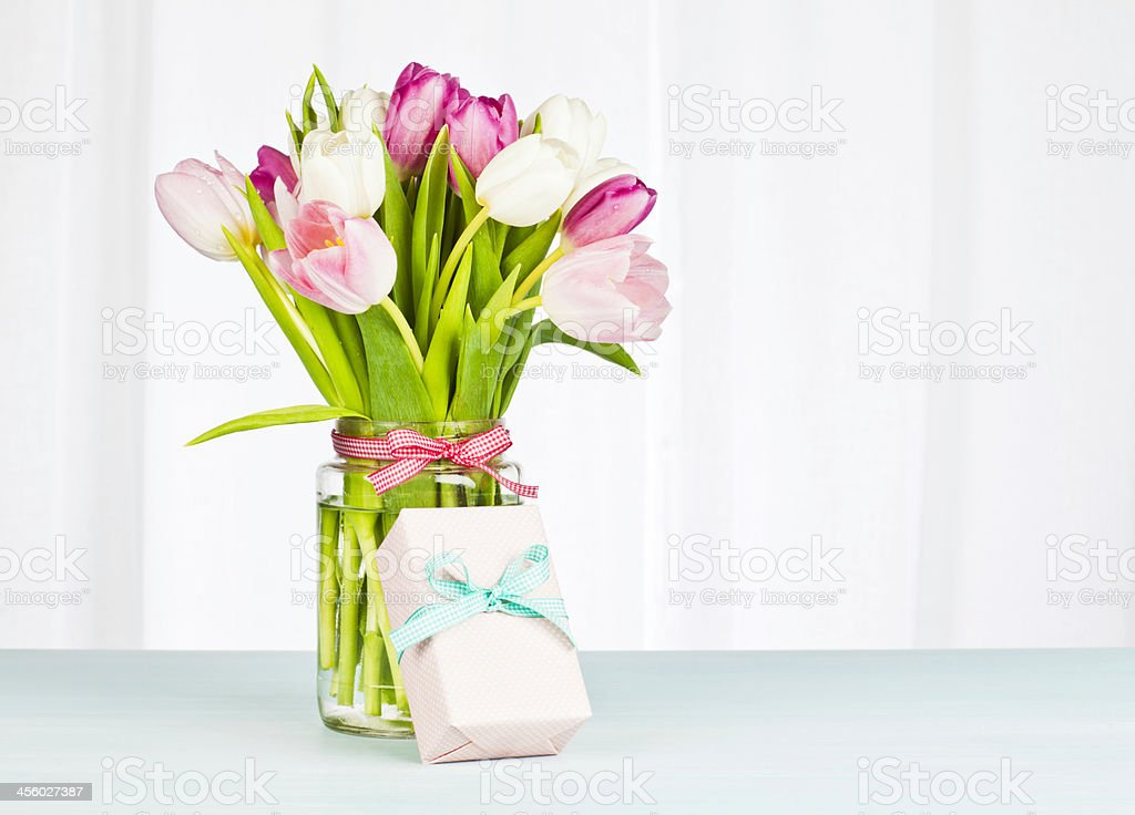 Flower Bouquet and Single Gift - Horizontal royalty-free stock photo