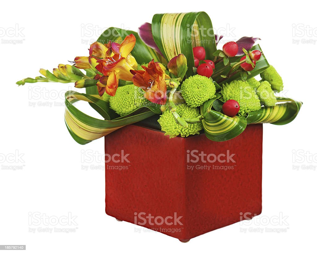 Flower bouquet arrangement centerpiece in vase isolated on white royalty-free stock photo