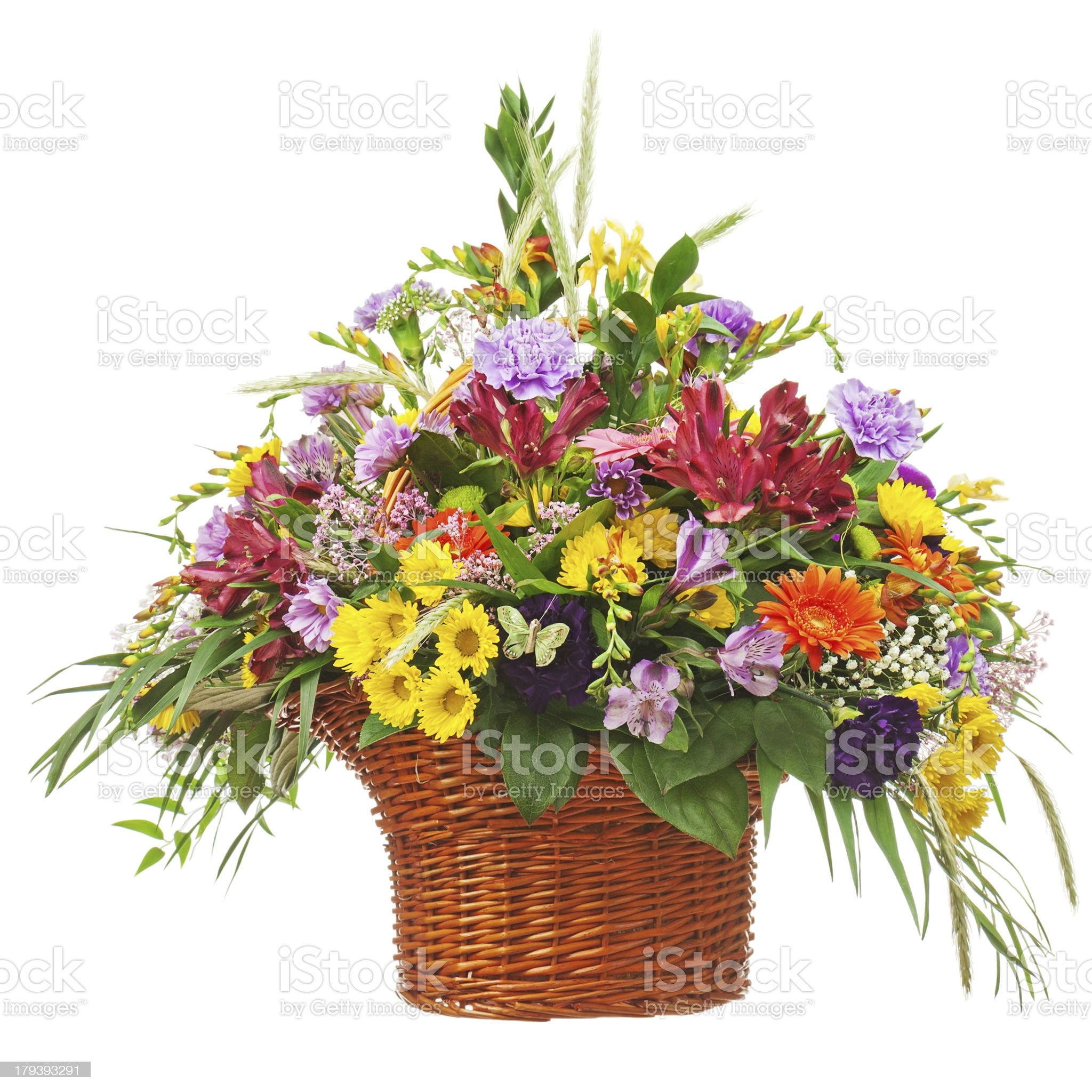 Flower bouquet arrangement centerpiece in wicker basket isolated royalty-free stock photo