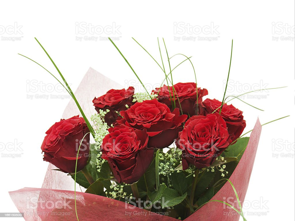 Flower bouquet from red roses isolated on white background. royalty-free stock photo