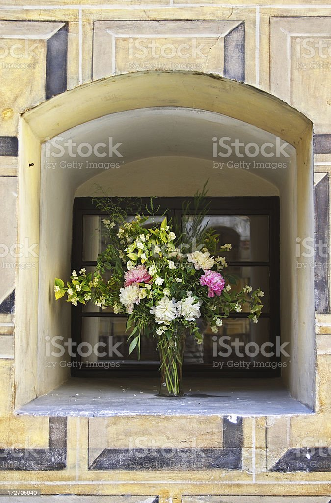 Flower bouquet in a vase royalty-free stock photo