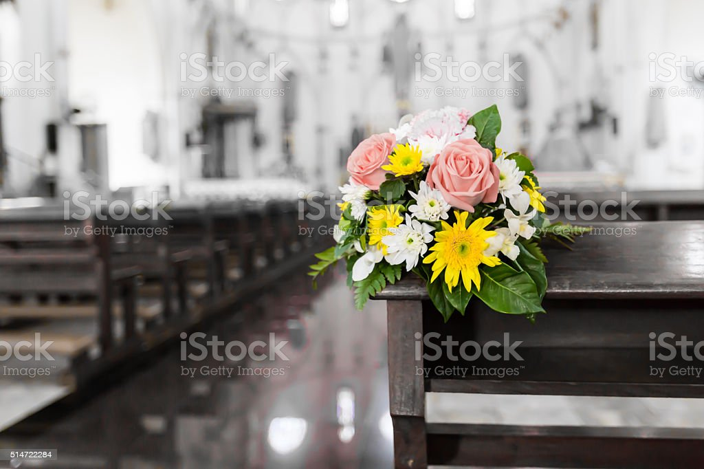 Flower bouquet in the Christ church stock photo