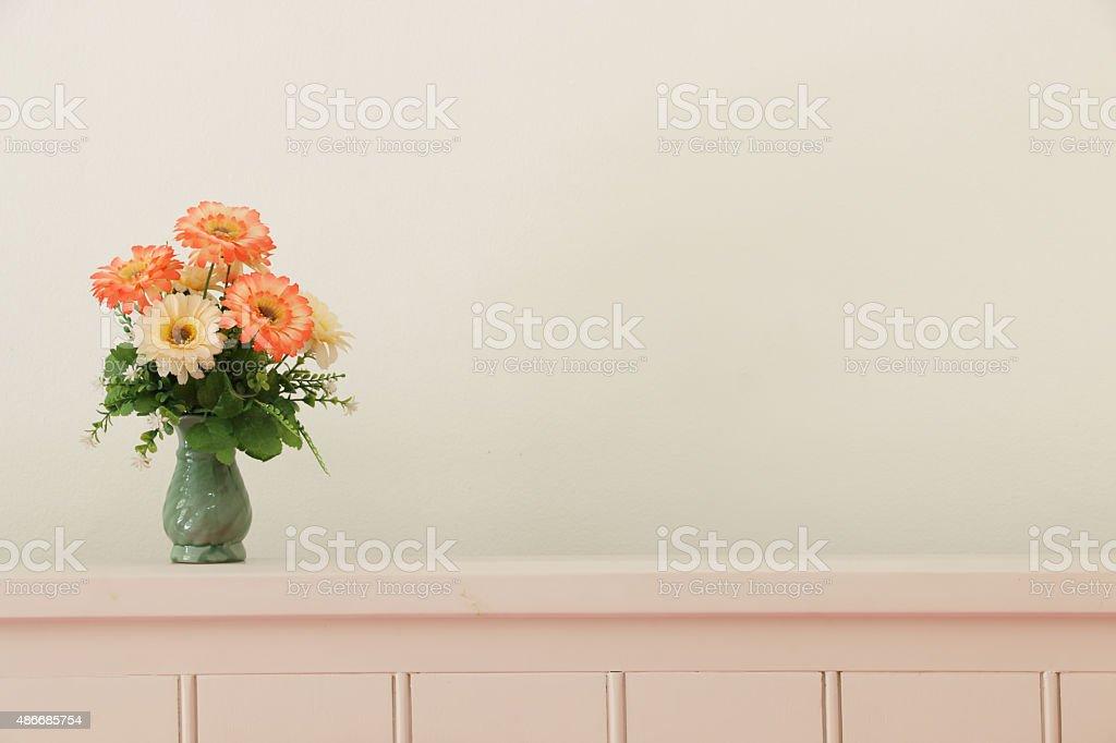 Flower bouquet on headboard. stock photo