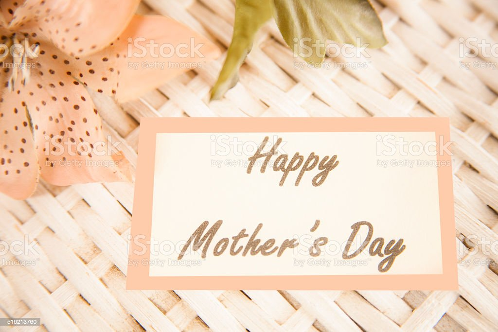 Flower bouquet with notecard. 'Happy Mother's Day' stock photo