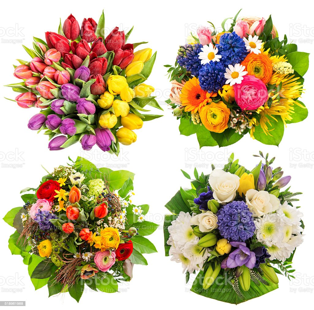 Flower bouquets Birthday, Wedding, Mothers Day, Easter stock photo