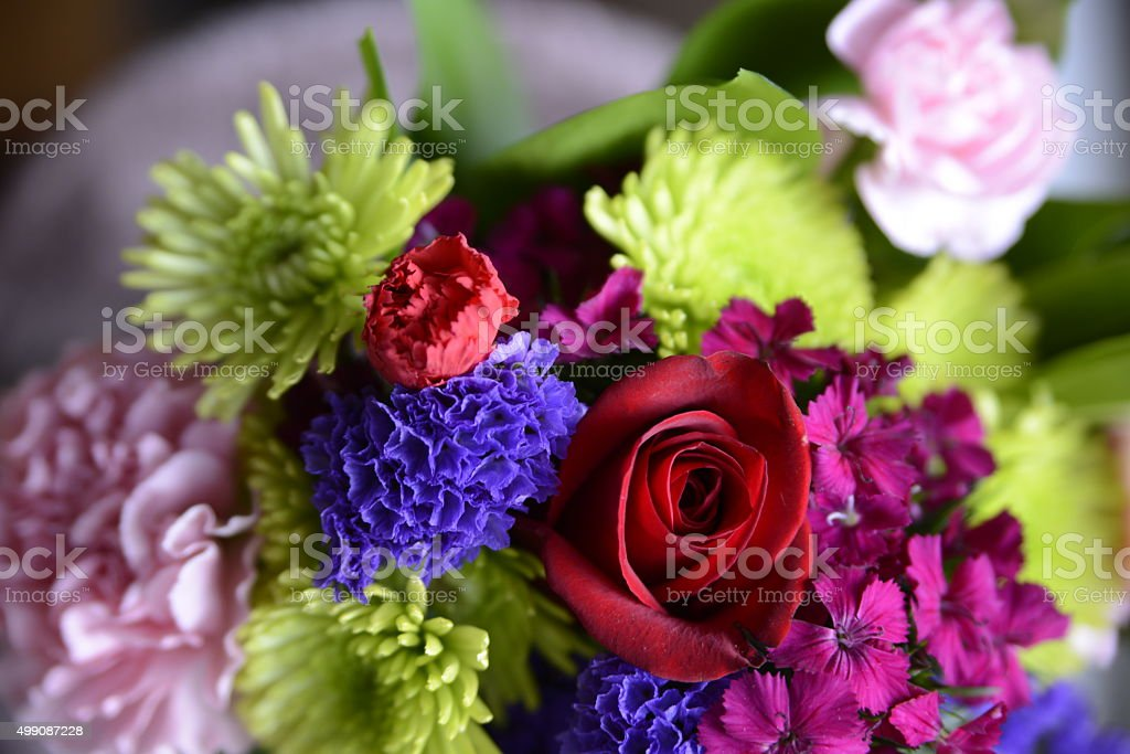 Flower bouquets with red rose stock photo