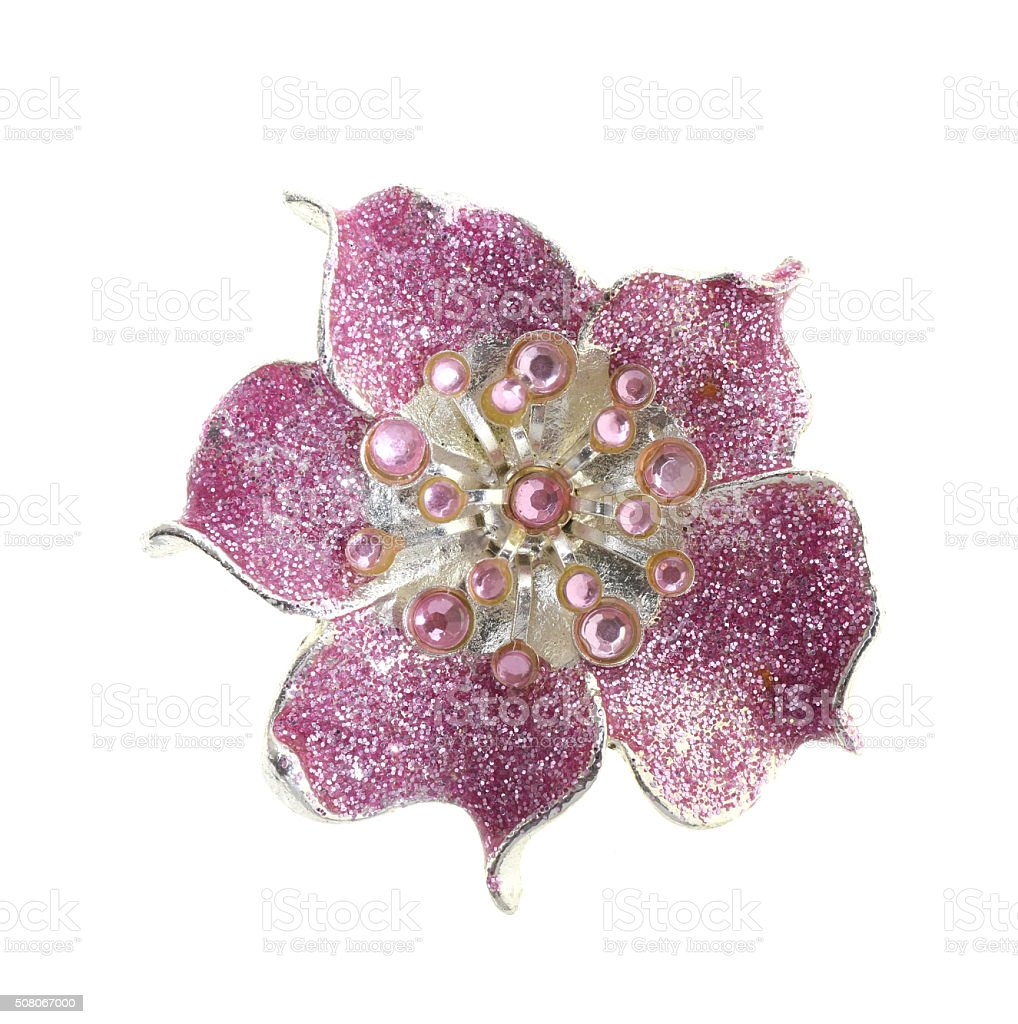 flower brooches on white background stock photo