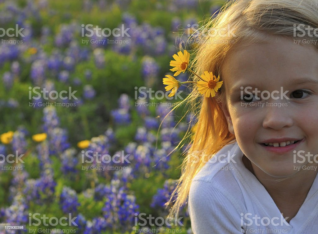 Flower Child--(young girl with flowers in hair) stock photo