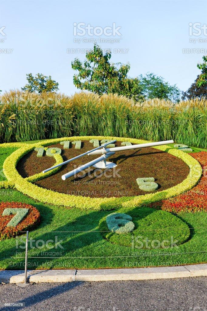 Flower Clock in Geneva stock photo