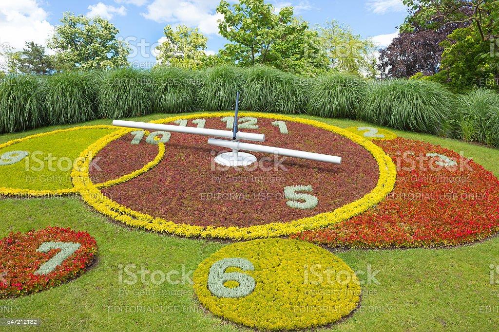 Geneva, Switzerland - June 17, 2016: Flower Clock in park stock photo