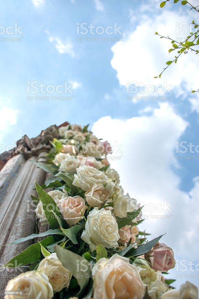 Flower decor column stock photo
