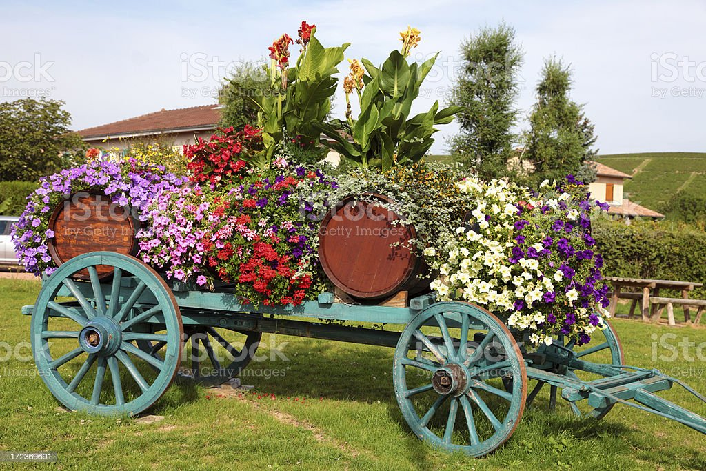Flower decorated wine cart royalty-free stock photo