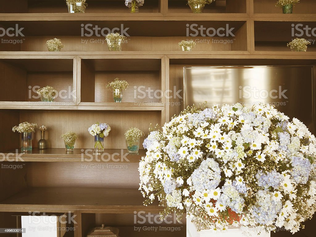 Flower decoration at the wedding stock photo