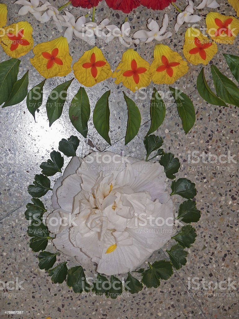 Flower decoration called Athappookalam, made during Onam Festiva stock photo