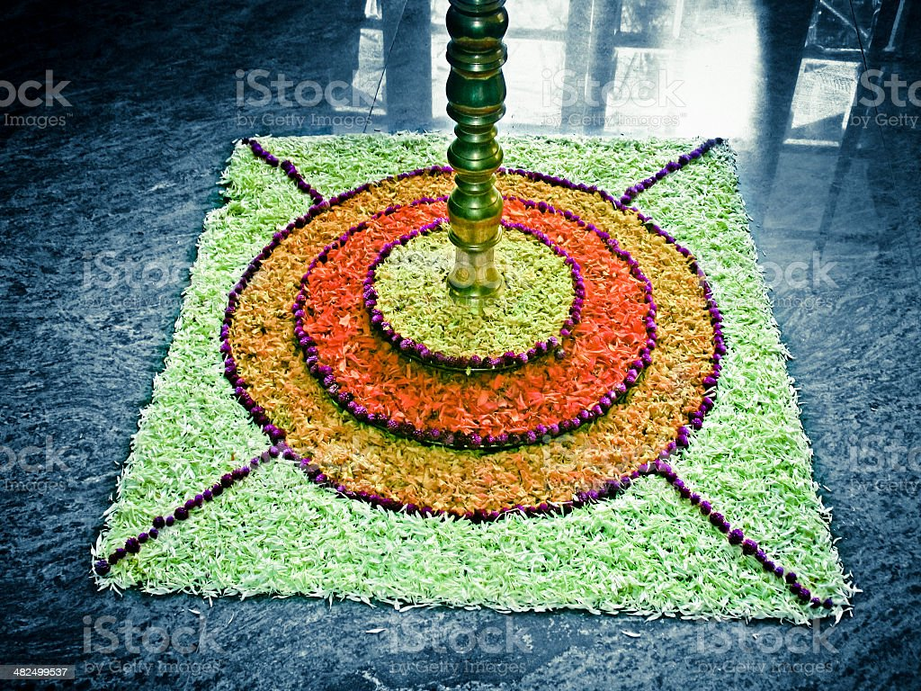 Flower decoration called Athappookalam, made during Onam Festival stock photo