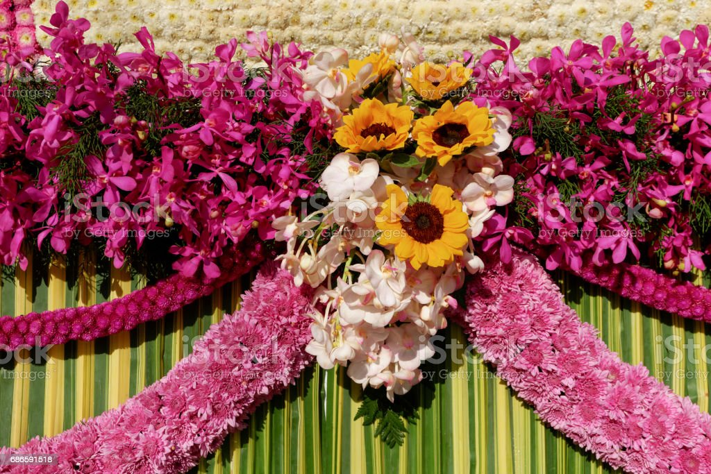 Flower decoration from Chiang Mai Flower Festival 2017, Thailand stock photo