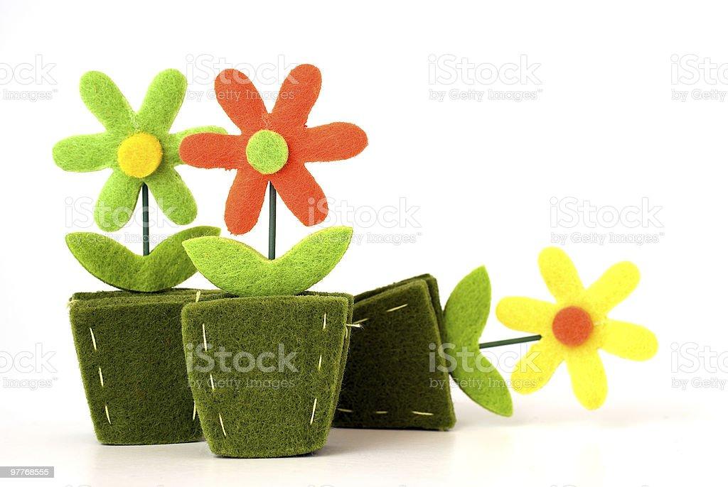 Flower decoration from felt royalty-free stock photo