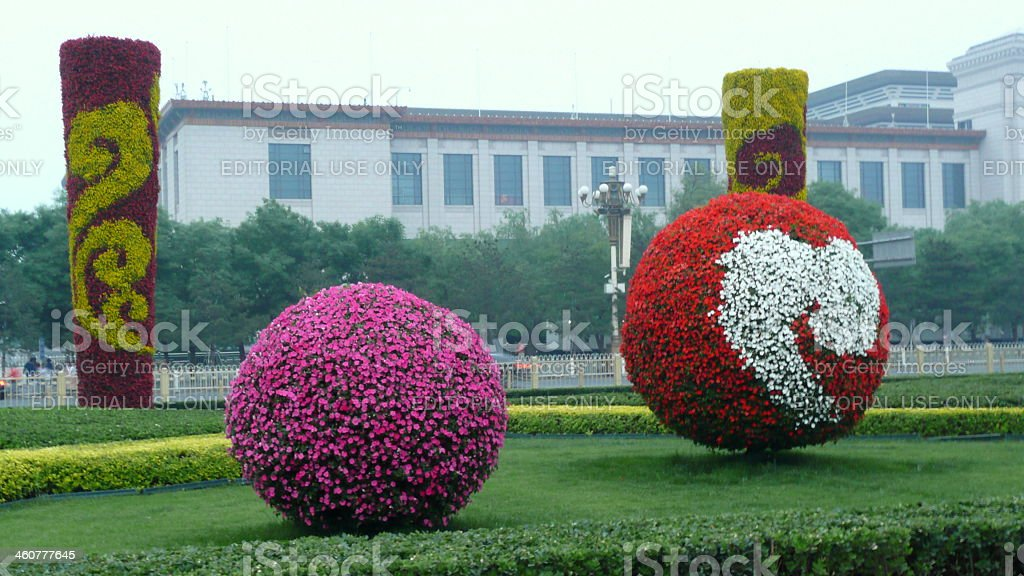 Flower decorations at Tiananmen Square stock photo