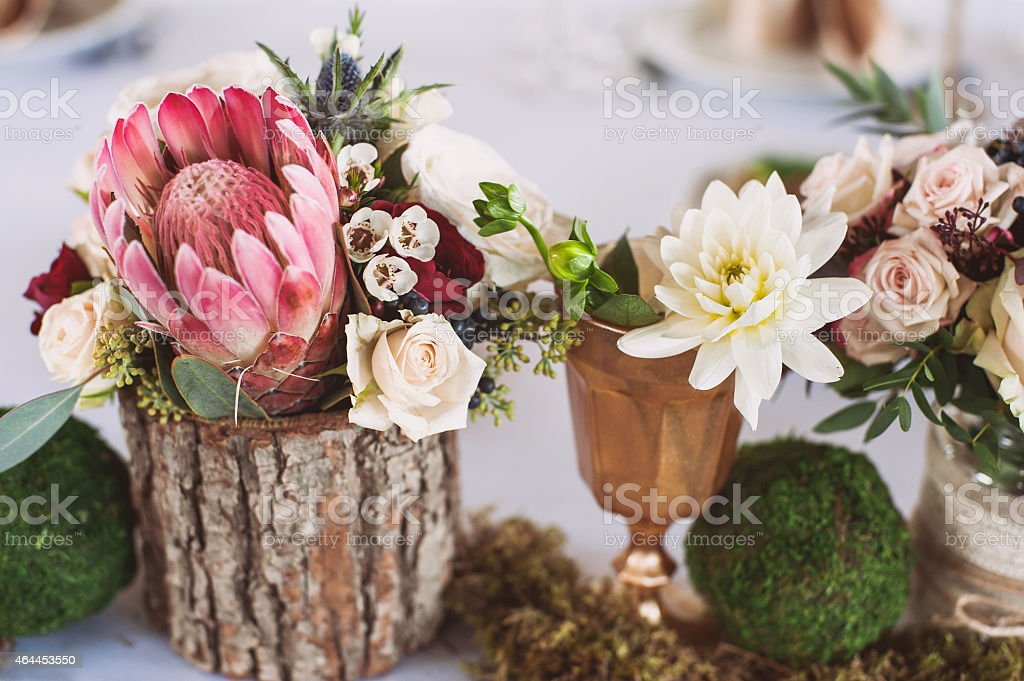 Flower decorations on a wedding party stock photo