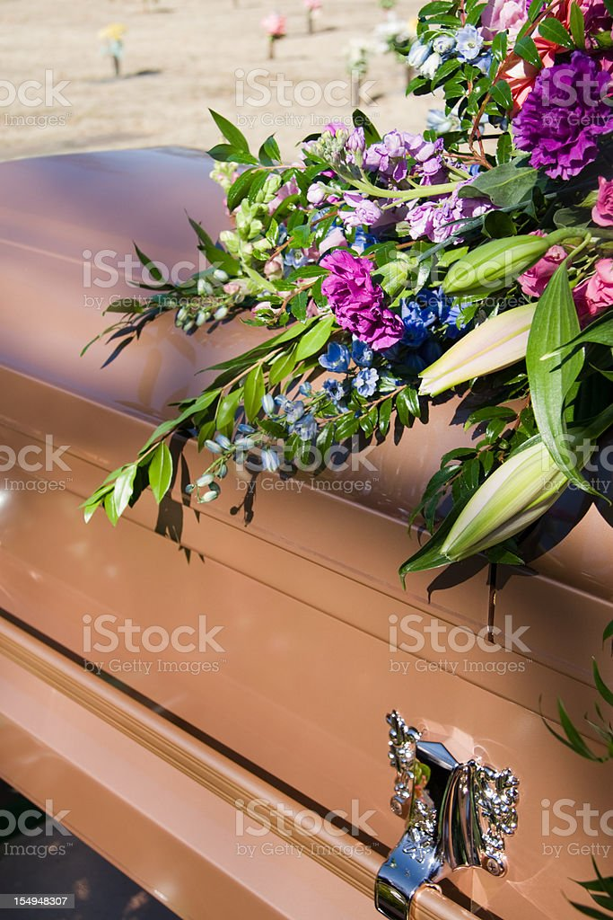 Flower Draped Coffin royalty-free stock photo