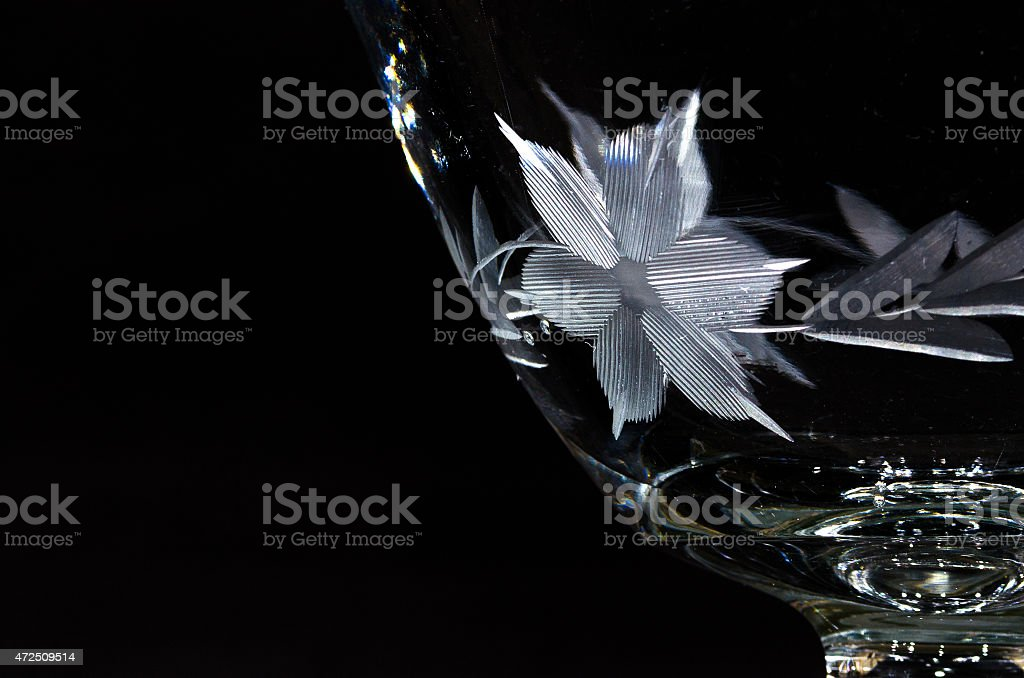 Flower Etching on Antique Glass Bowl stock photo