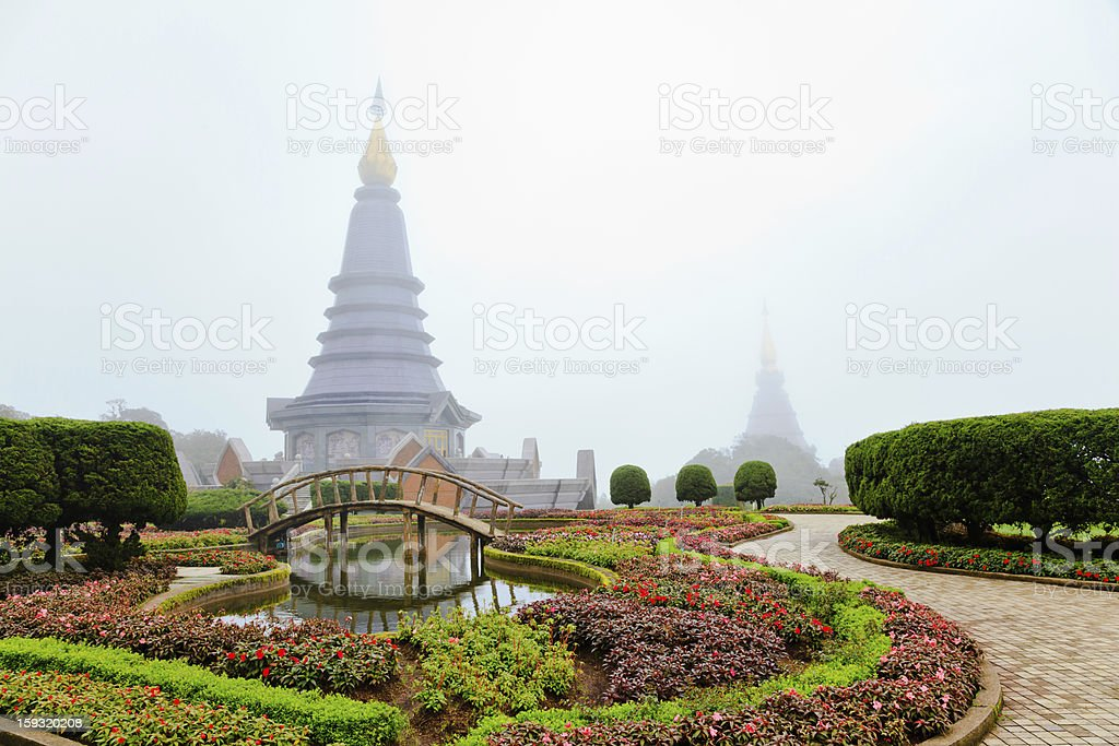 flower garden and stupa royalty-free stock photo