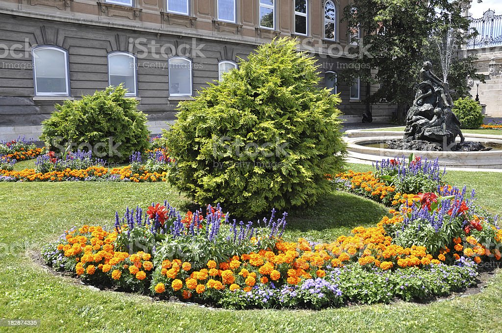 flower garden at the Royal Palace of Buda, Budapest, Hungary royalty-free stock photo