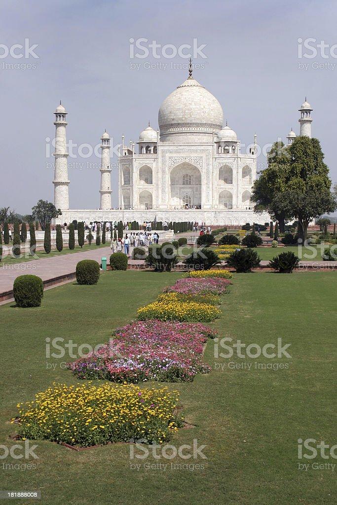 Flower gardens and India's Taj Majal stock photo