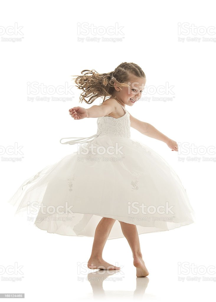 Flower girl as ballerina, dancing (Isolated series) stock photo