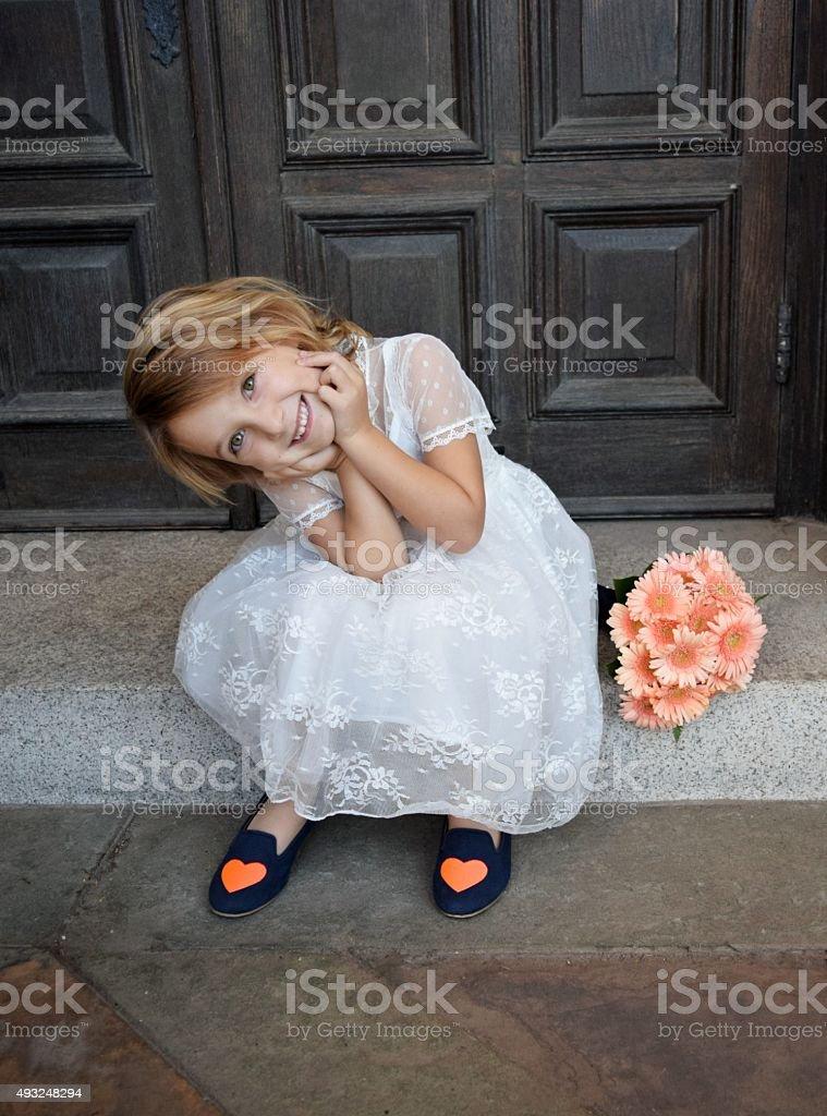 Flower girl, little bride stock photo