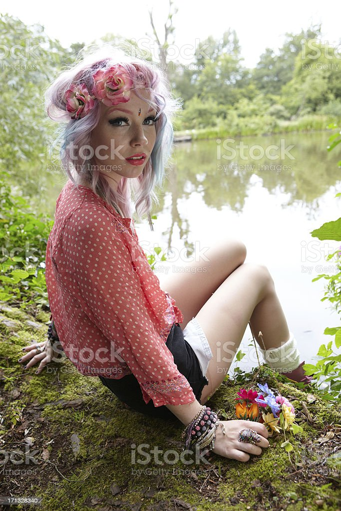 Flower girl portrait by the lake royalty-free stock photo