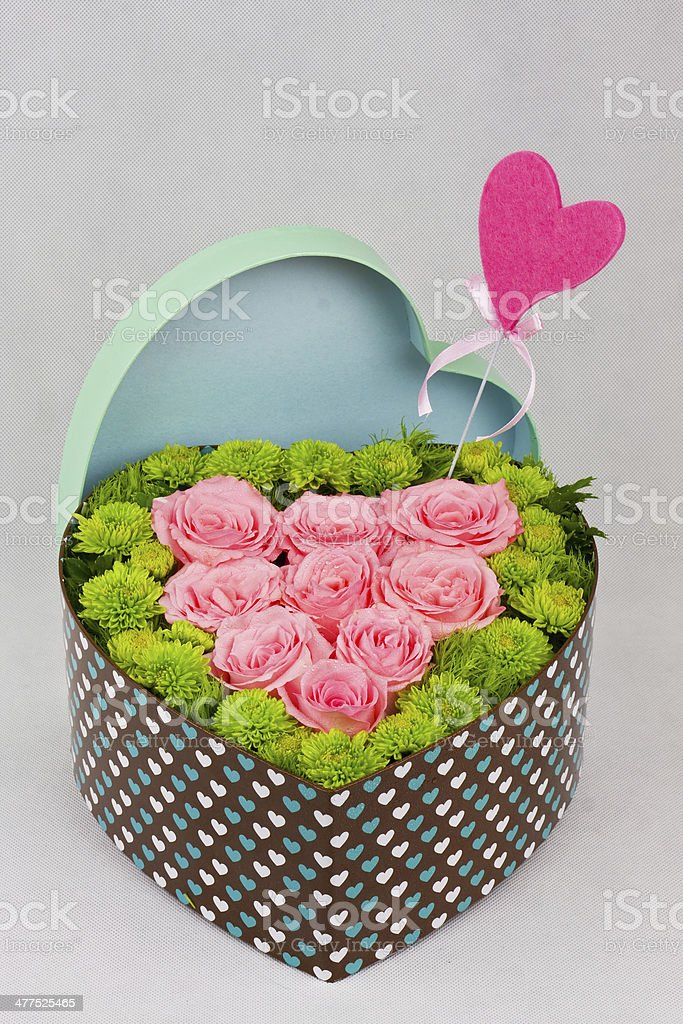 Flower heart shaped box royalty-free stock photo