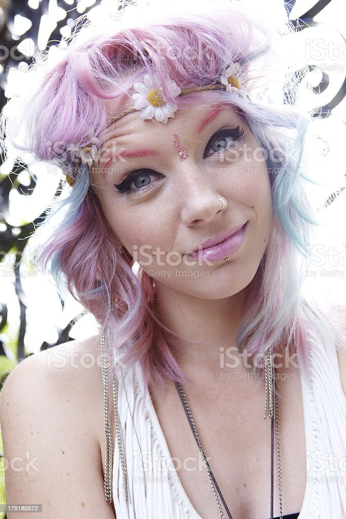 Flower Hippy Girl royalty-free stock photo