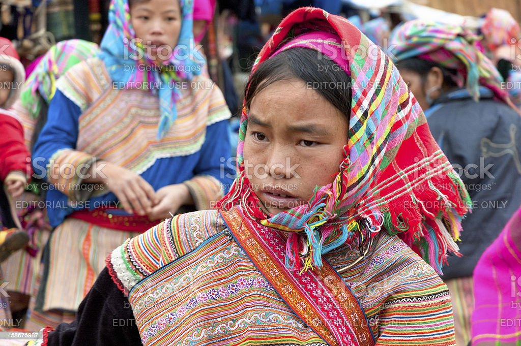 Flower Hmong Woman At Can Cau Market In Vietnam stock photo
