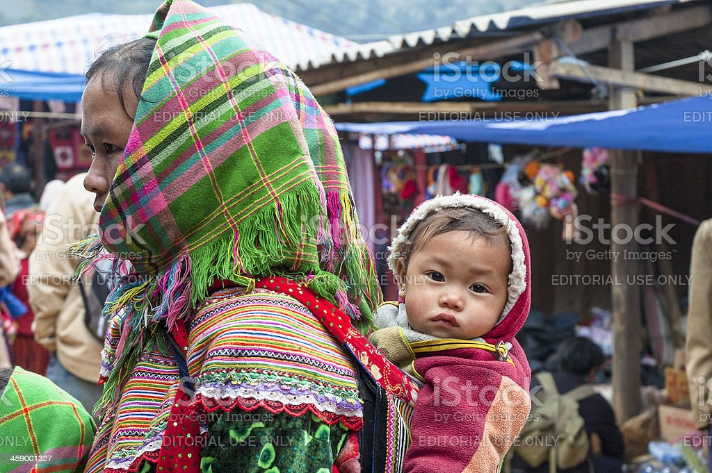 Flower Hmong Woman At Can Cau Market In Vietnam royalty-free stock photo