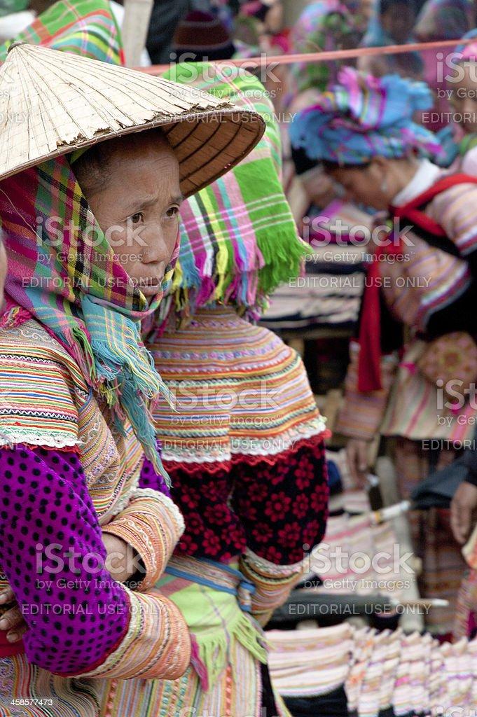 Flower Hmong Women At Can Cau Market In Vietnam stock photo