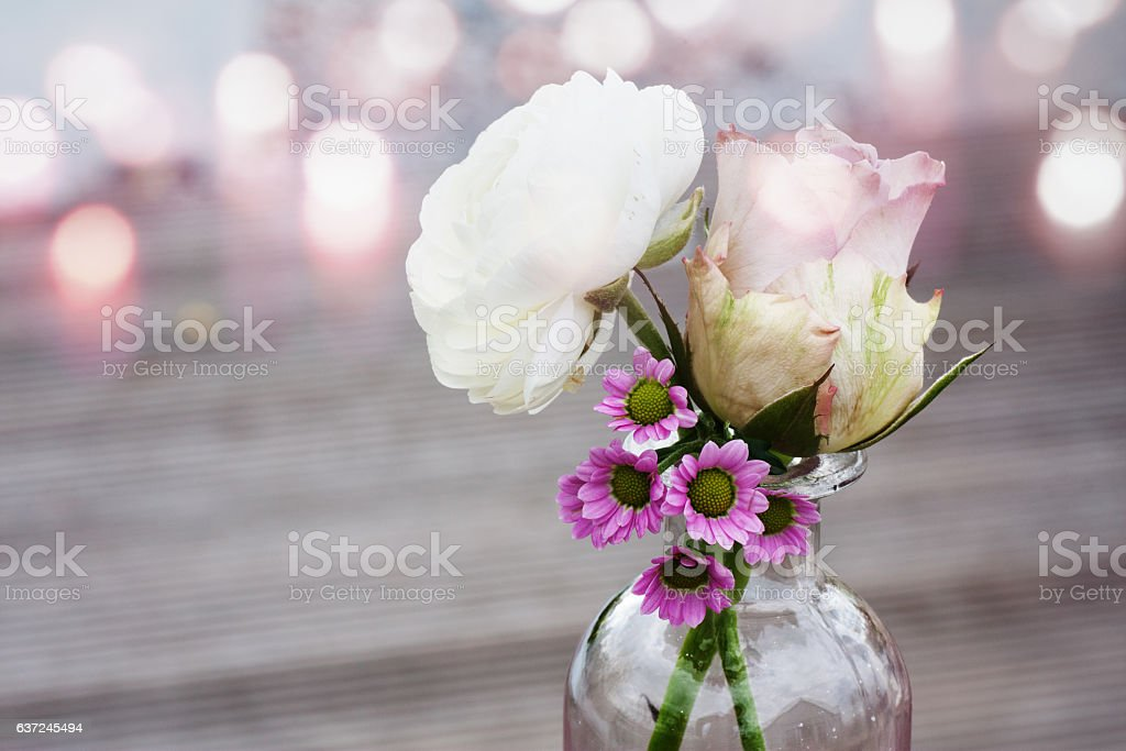 Flower in a glass vase stock photo