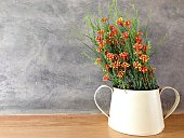 Flower in jar on wood table with stucco wall background
