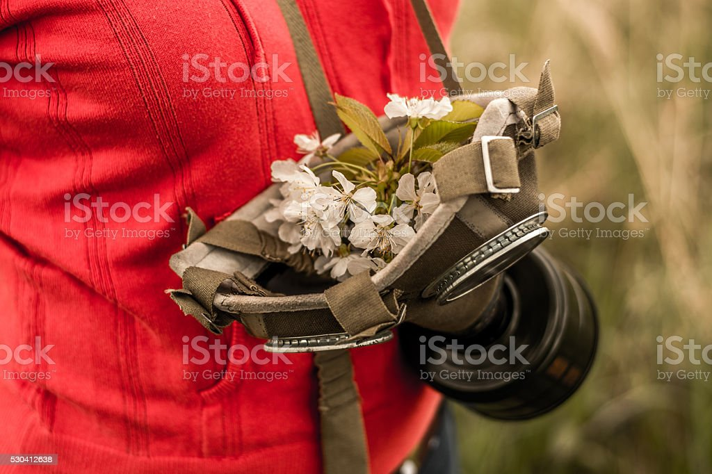 flower in the gas mask stock photo