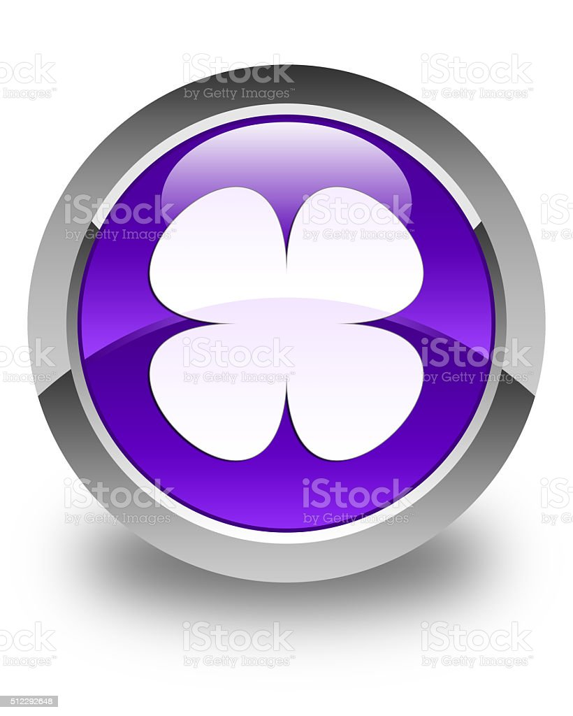 Flower leaf icon glossy purple round button stock photo