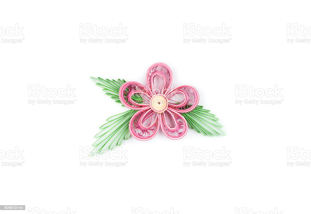 flower made by quilling on a light background stock photo