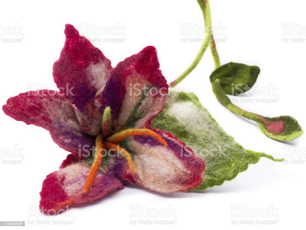 flower made of felt stock photo