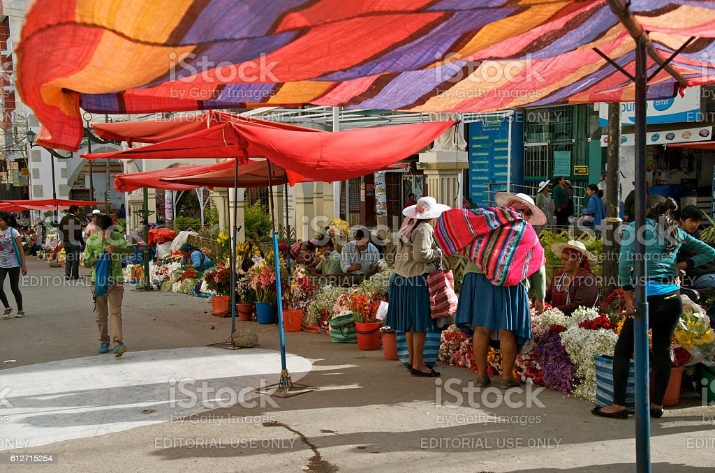 Flower Market At Our Lady of Urkupiña in Bolivia stock photo