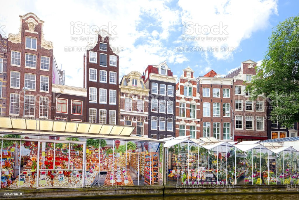 Flower market in Amsterdam (Bloemenmarkt), wide angle stock photo