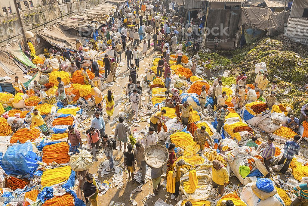 Flower market in Calcutta stock photo