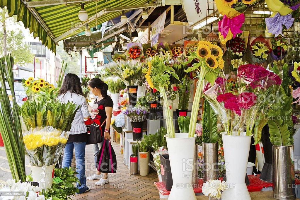 Flower market in Hong Kong royalty-free stock photo