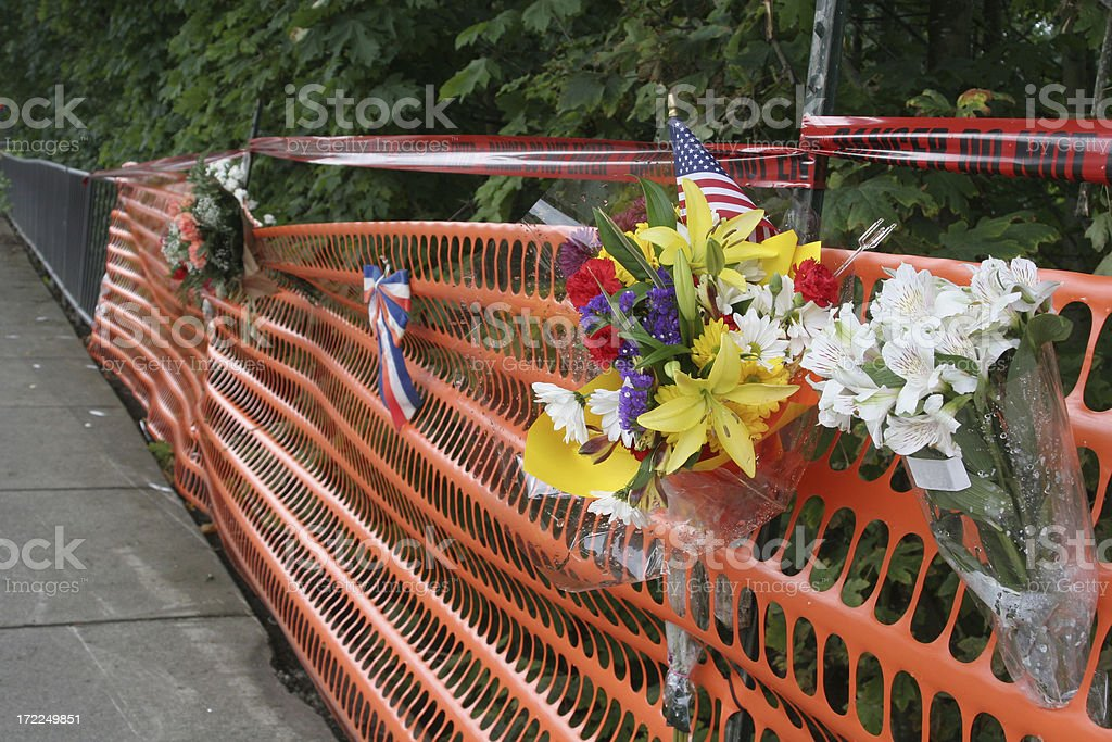 Flower Memorial At Site of Fatal Auto Accident stock photo