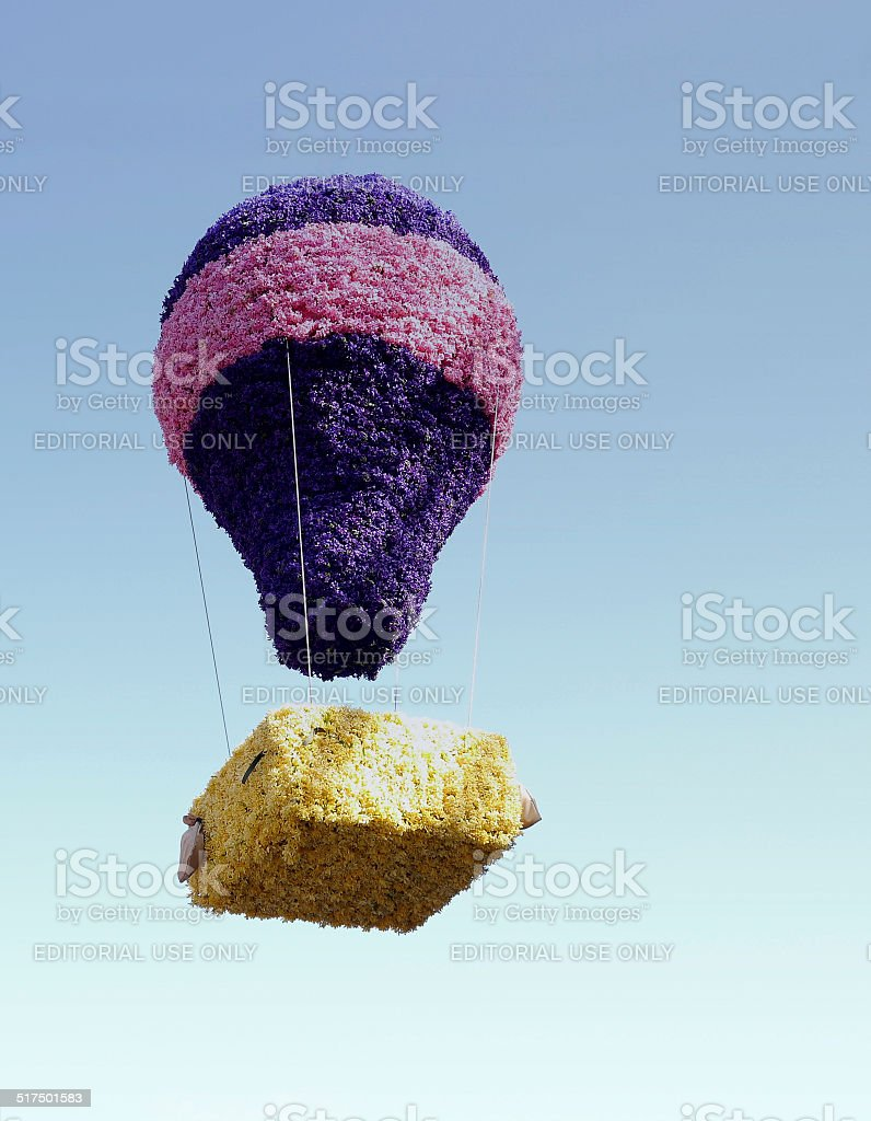 Flower mosaic of a hot air balloon royalty-free stock photo