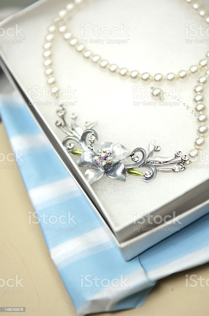Flower Necklace in Box stock photo