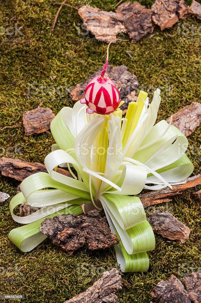 Flower of leek on forest floor royalty-free stock photo